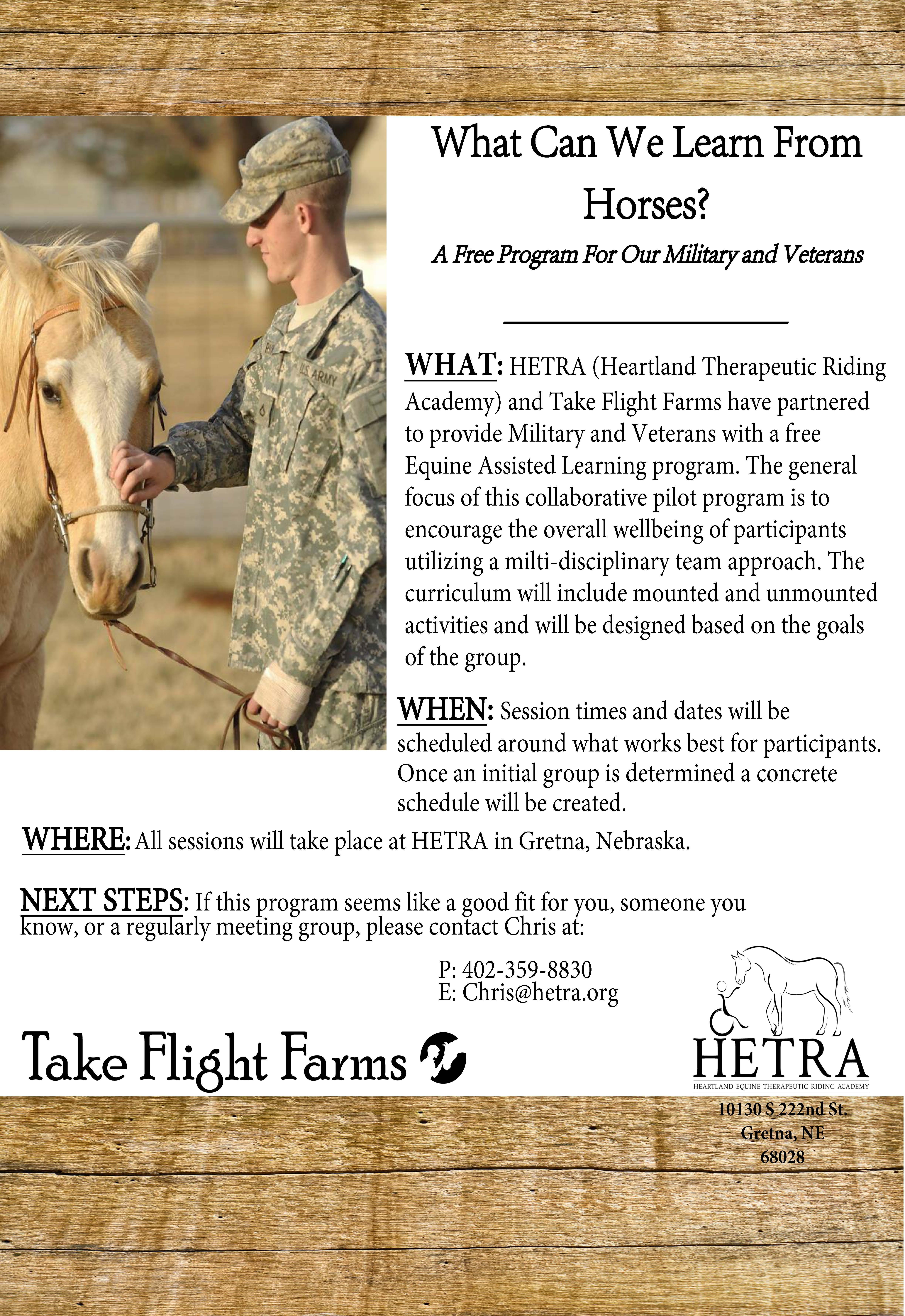 Military Program in Partnership with HETRA | Take Flight Farms